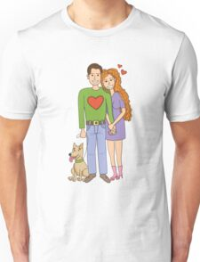 Love. Cute couple with dog. Unisex T-Shirt