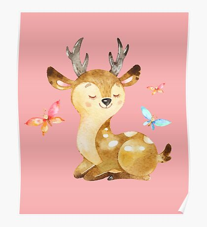 Cute Watercolor Woodland Baby Deer with Butterflies   Poster