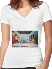 Mario the Last Supper Women's Fitted V-Neck T-Shirt
