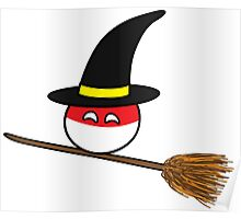 Polandball Halloween - Polandwitch Small Poster