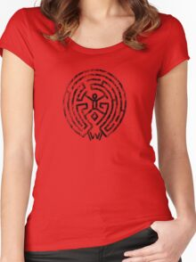 Westworld Black Maze Symbol Distressed Women's Fitted Scoop T-Shirt