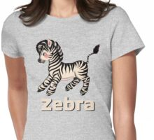 Cute Baby Zebra pattern vintage illustration for children Womens Fitted T-Shirt
