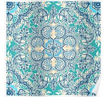 Gypsy Floral in Teal & Blue Poster