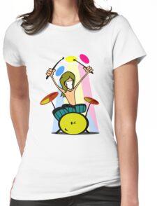 Drummer Cartoon Womens Fitted T-Shirt