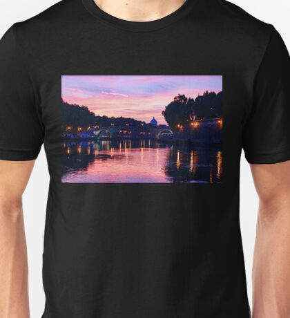 Impressions of Rome - Glorious Sky Over Tiber River Unisex T-Shirt