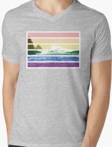 LGTB flag on waves crashing Mens V-Neck T-Shirt