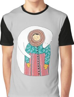 Lady And Her Polar Bear Friend Graphic T-Shirt