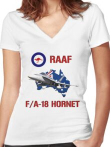 F/A-18 Hornet of the RAAF Women's Fitted V-Neck T-Shirt