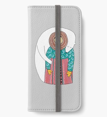 Lady And Her Polar Bear Friend iPhone Wallet