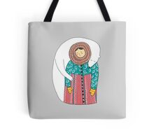 Lady And Her Polar Bear Friend Tote bag