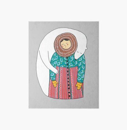 Lady And Her Polar Bear Friend Art Board