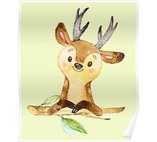 Cute Adorable Watercolor Woodland Baby Deer Poster