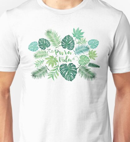 Tropical Pura Vida Palm Leaves and Monstera Watercolor Unisex T-Shirt