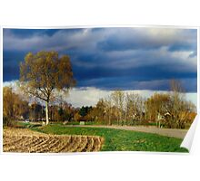 Countryside road at sunset time, autumn, Alsace Poster