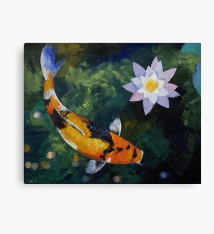 Showa Koi and Water Lily Canvas Print