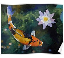 Showa Koi and Water Lily Poster