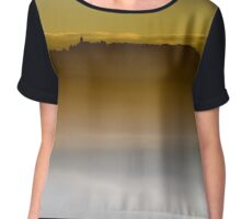 Majestic fog ocean in the mountains on sunset, Alsace, France Chiffon Top
