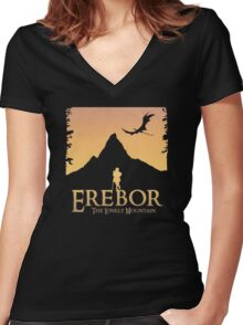 Erebor - The Lonely Mountain (The Hobbit) Women's Fitted V-Neck T-Shirt