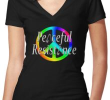 #Peaceful #Resistance - Rainbow, small Women's Fitted V-Neck T-Shirt