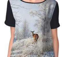Glen Shiel Misty Winter Deer Chiffon Top