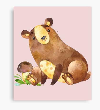 Cute Watercolor Woodland Baby Bear  Canvas Print