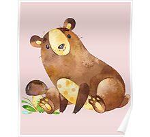 Cute Watercolor Woodland Baby Bear  Poster