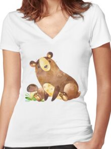 Cute Watercolor Woodland Baby Bear  Women's Fitted V-Neck T-Shirt