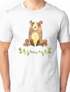 Cute Adorable Watercolor Woodland Bear Unisex T-Shirt