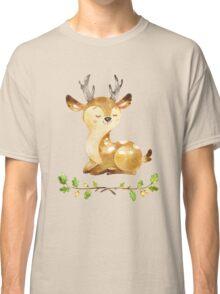 Cute Adorable Watercolor Woodland Baby Deer Classic T-Shirt