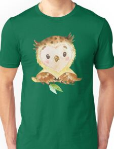 Cute Adorable Watercolor Woodland Baby Owl Unisex T-Shirt