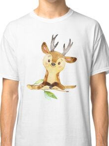 Cute Adorable Watercolor Woodland Baby Deer Classic T-Shirt