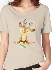 Cute Adorable Watercolor Woodland Baby Deer Women's Relaxed Fit T-Shirt