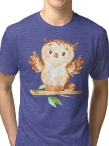 Cute Adorable Watercolor Woodland Baby Owl Tri-blend T-Shirt