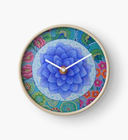 Blue Flower Mandala  Clock