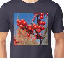 Winterberries glow against a blue autumn sky Unisex T-Shirt