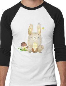 Cute Adorable Watercolor Woodland Baby Bunny Rabbit Men's Baseball ¾ T-Shirt