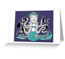 Beer Loving Mermaid Princess Greeting Card