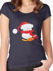 cute little xmas penguin Women's Fitted Scoop T-Shirt