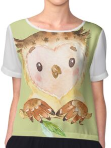 Cute Adorable Watercolor Woodland Baby Owl Chiffon Top