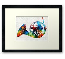 Colorful French Horn - Color Fusion By Sharon Cummings Framed Print
