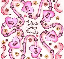 You Are Loved (pink on white) by Dwyanna  Stoltzfus