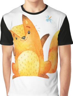 Cute Adorable Watercolor Woodland Baby Fox Graphic T-Shirt
