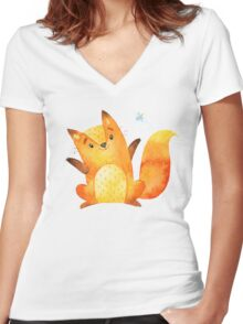 Cute Adorable Watercolor Woodland Baby Fox Women's Fitted V-Neck T-Shirt
