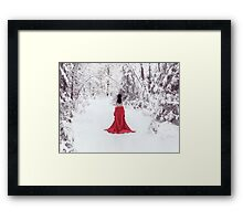 Woman in red kimono and bare shoulders walking away in snow art photo print Framed Print