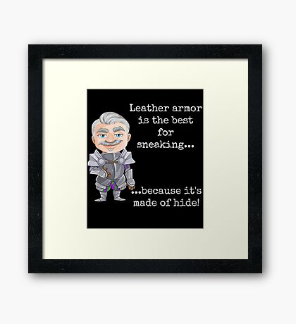 Punny Leather Armor Knight Framed Print