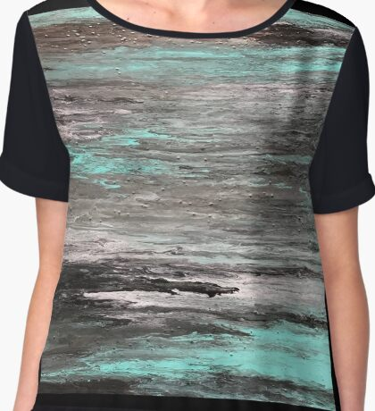 Acrylic pouring - teal, grey, white, black & copper Chiffon Top