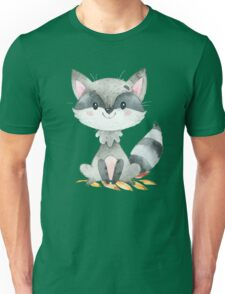 Cute Adorable Watercolor Woodland Baby Raccoon Unisex T-Shirt