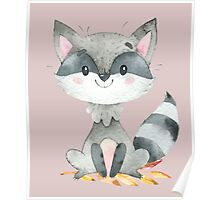 Cute Adorable Watercolor Woodland Baby Raccoon Poster