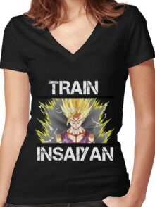 Awesome Train Insaiyan Gohan Super Saiyan 2 Women's Fitted V-Neck T-Shirt