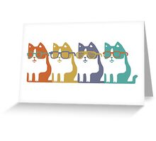 Cats In Glasses Row Greeting Card